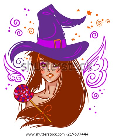 halloween vector brunette witch