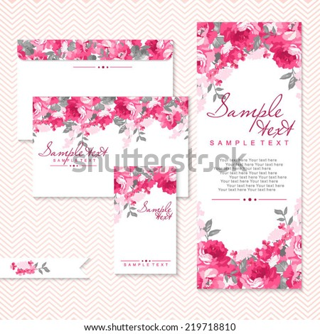 vector card with pink roses and