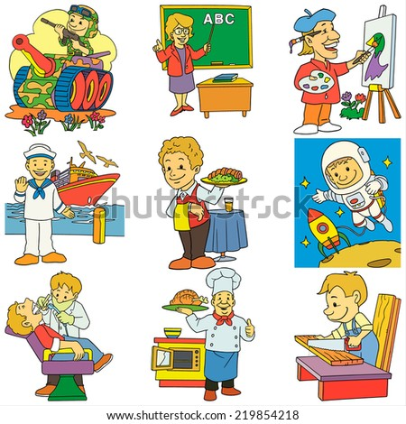 cartoon collection of job  color