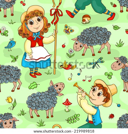 seamless pattern with shepherd