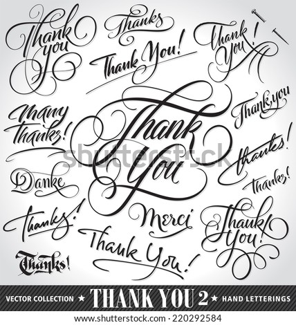 set of custom thank you hand
