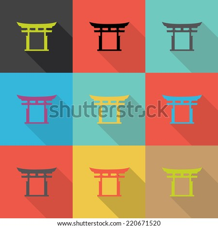 japan traditional  flat design