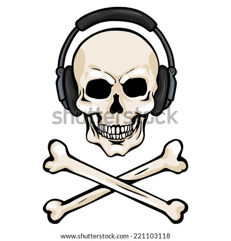 vector cartoon skull with