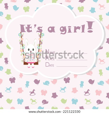 baby girl arrival card baby