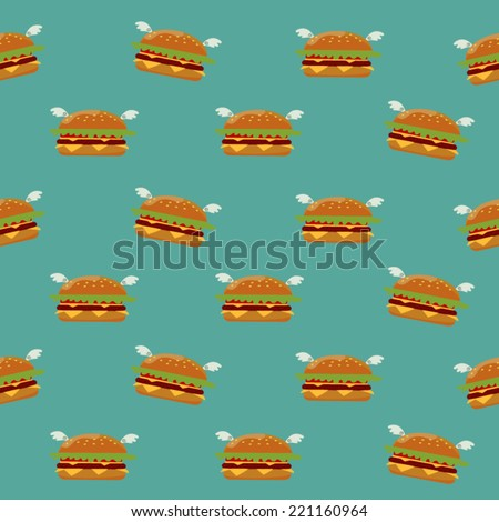 burger seamless pattern fast