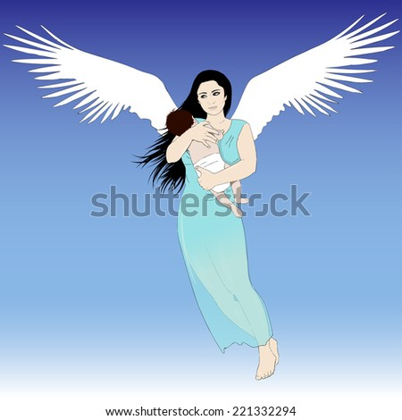 flying woman with child on blue