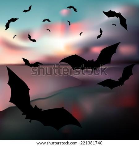 vampire bats flying silhouettes