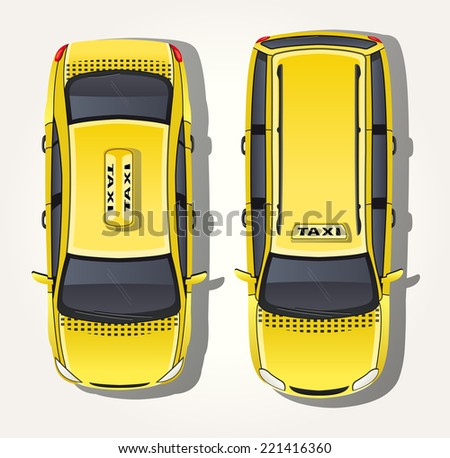 vector yellow taxi   top view
