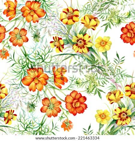 wild flowers seamless pattern