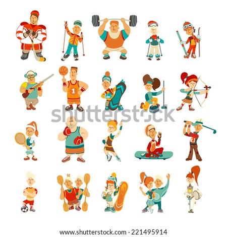 vintage character set sport
