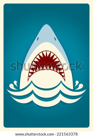 shark jawsvector blue