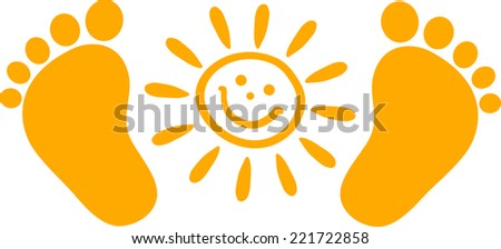 baby feet with sun
