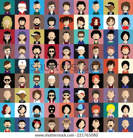 set of people icons in flat