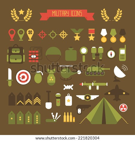 military and war icons set