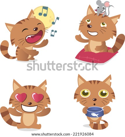 cat set with four kittens in