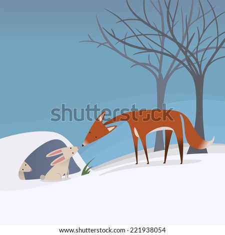 peaceful scene of a fox and a