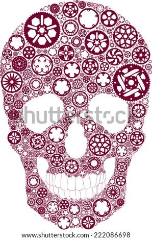 vector skull created from bike