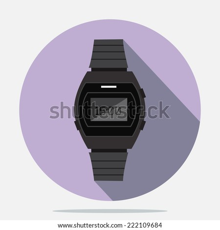 watch flat style icon vector