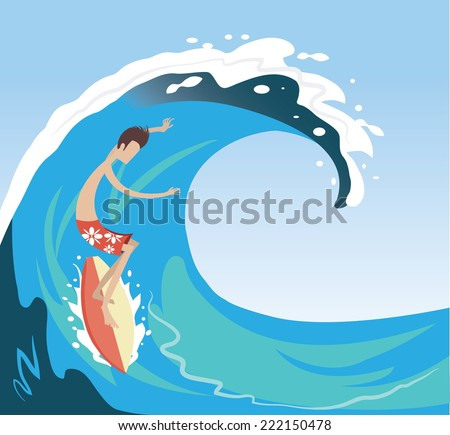 surfer enjoying on the big wave