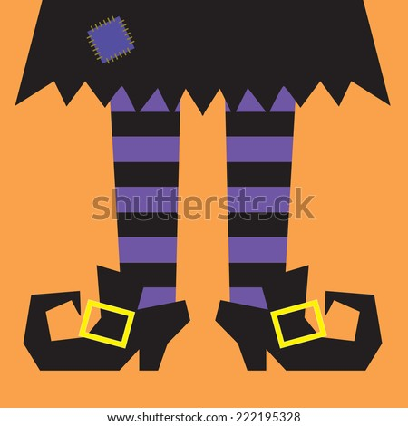 witch legs with orange stripes