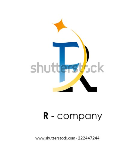 vector sign letter r with star
