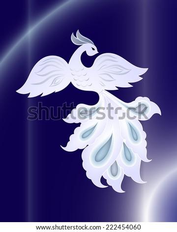 magic white bird on dark blue