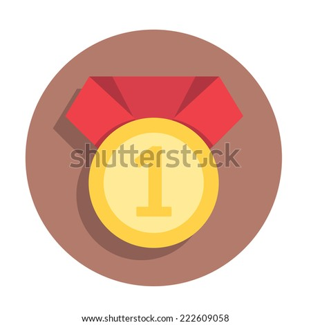 vector flat icon gold medal