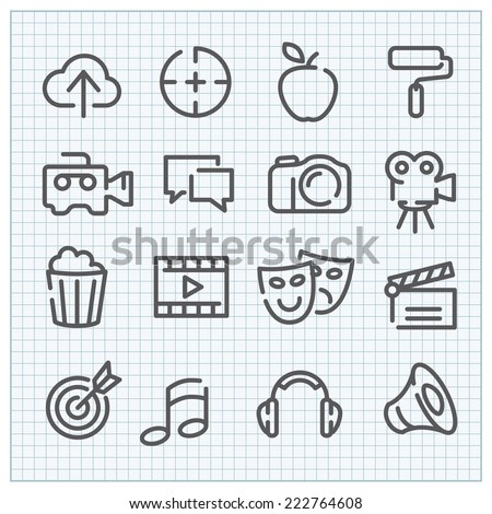 line vector icon set for clean