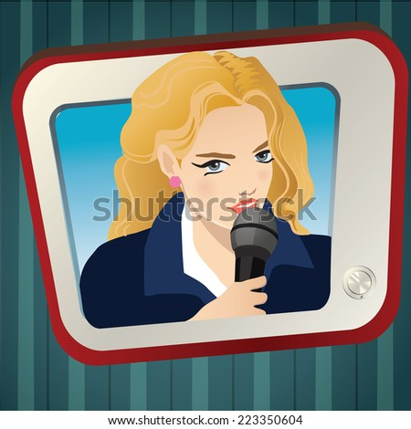 female reporter on screen