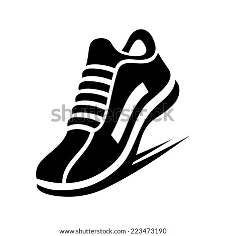 running shoe icon on white