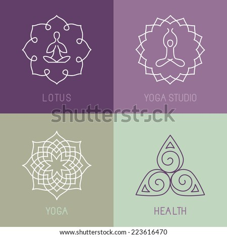 vector yoga icons and round