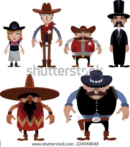 wild west people cartoon