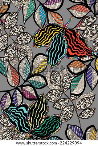 floral pattern liner artwork in