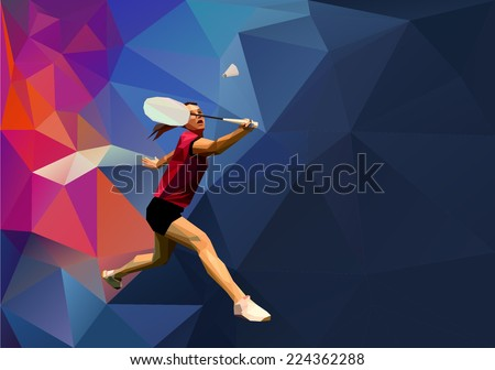 badminton player on abstract
