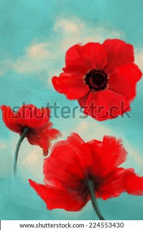 poppy oil on canvas vector