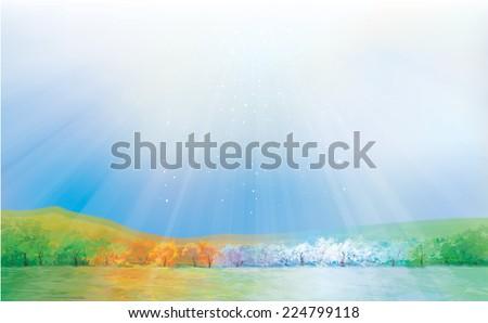 vector four season landscape