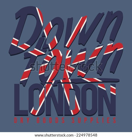 london flag typography  t shirt