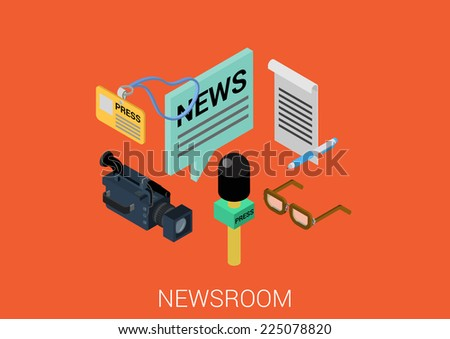news room media flat 3d