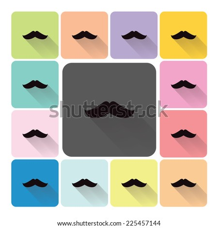 mustache icon color set vector