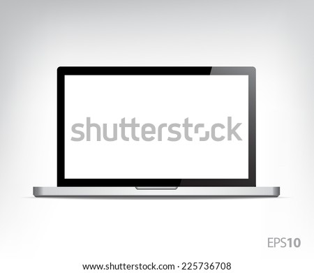 vector realistic opened laptop
