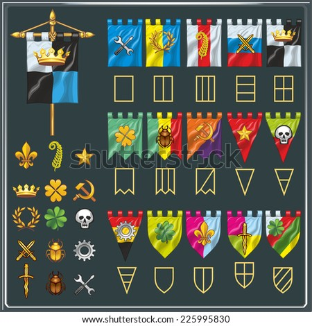 various flags of the clans in