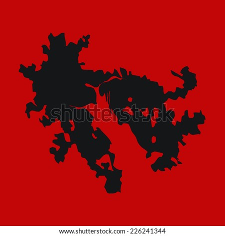 red silhouette of the country