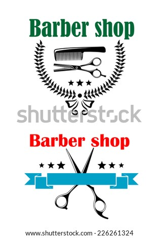 two vector barber shop emblems