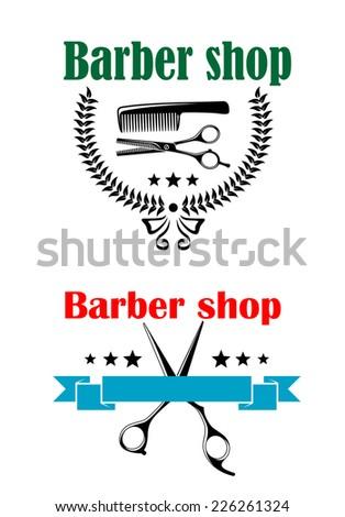 two vector barber shop emblems