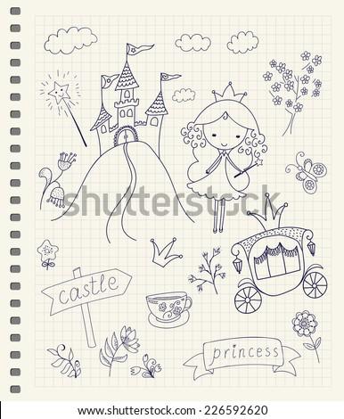 hand drawn fairy tale princess
