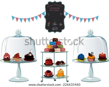 many different cakes on cake