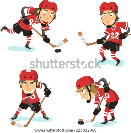 ice hockey action set  with