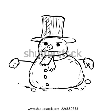 hand drawn angry snowman vector