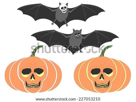 funny skull pumpkin  skull bat