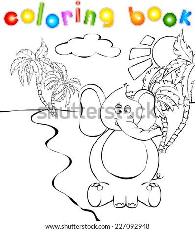 funny cartoon elephant near a